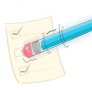 Egy radíros végű ceruza kiradíroz valamit egy lapról