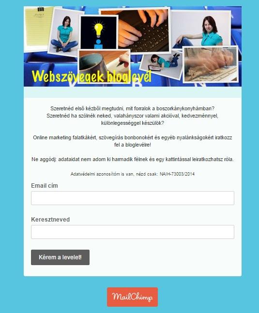 A Webszövegek hírlevél-feliratkoztató oldala