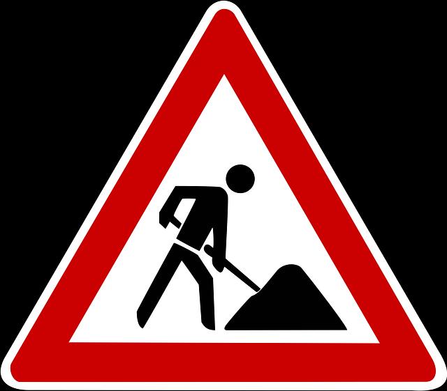 útépítés KRESZ-tábla