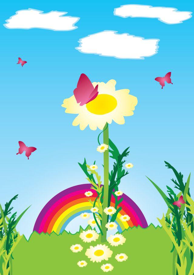 Pillangók, virágok, szivárvány