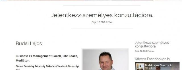 Budai Coaching sales oldal