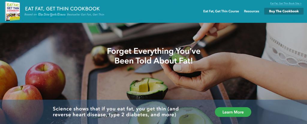 Eat fat get thin landing oldal